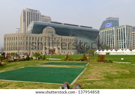 SEOUL SOUTH KOREA APRIL 6: City Hall is a governmental building for the Seoul Metropolitan Government in South Korea on april 2013 in Seoul South Korea.