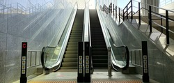 Seoul, South Korea : Escalator with sensor. It only works when a person approaches it.