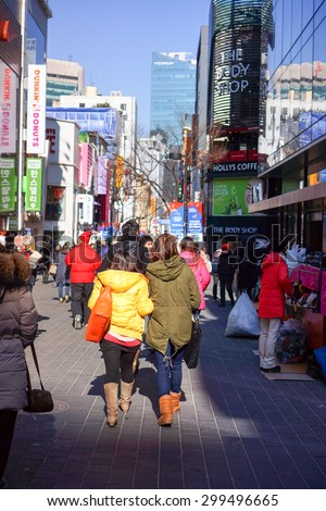 SEOUL, SOUTH KOREA - Jan 24, 2013 :  Myeong-dong shopping street in Seoul, South Korea. Myeong dong shopping street is center fashion of new generation in South Korea