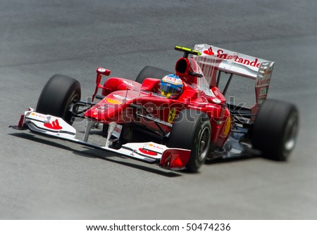 SEPANG F1 CIRCUIT, MALAYSIA - APR 3 : Ferrari Marlboro Formula One driver Fernando Alonso of Spain drives during qualifying session on April 3, 2010 in Sepang F1 circuit outside Kuala Lumpur, Malaysia