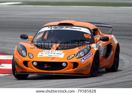 SEPANG - JUNE 17: Sean Cheng in a Lotus Exige S takes to the tracks of the Sepang International Circuit at the GT Asia Series race on June 17, 2011 in Sepang, Malaysia.