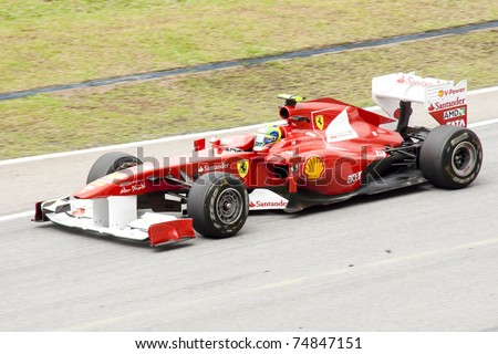 SEPANG, MALAYSIA-APR 8:Ferrari\'s Felipe Massa drives during morning practice at 2011 Malaysia F1 Grand Prix on Apr 8, 2011 in Sepang.Malaysia is the 2nd venue in the F1 calendar after Australia