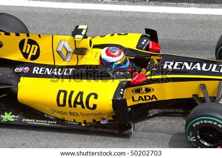 SEPANG, MALAYSIA - APRIL 4: Close up of Russian Vitaly Petrov of Team Renault at the Petronas Formula 1 Grand Prix April 4, 2010 in Sepang, Malaysia