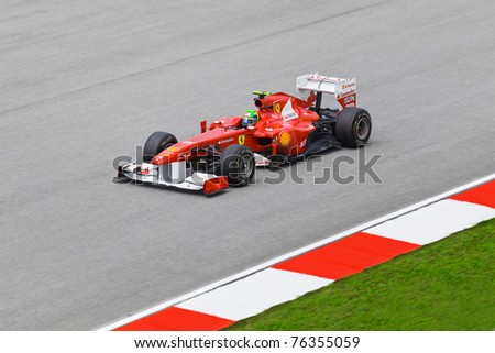 SEPANG, MALAYSIA - APRIL 8: Felipe Massa (team Scuderia Ferrari Marlboro) at first practice on Formula 1 GP, April 8 2011, Sepang, Malaysia