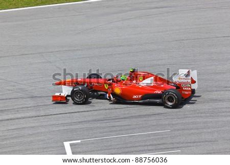 SEPANG, MALAYSIA - APRIL 8: Felipe Massa (team Scuderia Ferrari Marlboro) at first practice on Formula 1 GP, April 8 2011, Sepang, Malaysia