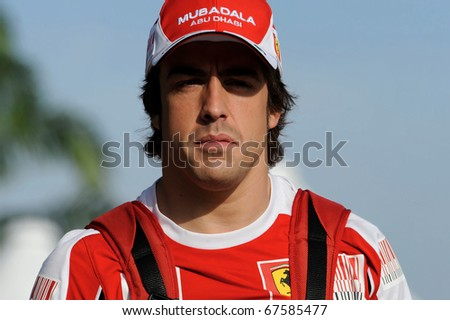 SEPANG, MALAYSIA - APRIL 2 : Ferrari Team Driver, Fernando Alonso of Spain during practice day in Petronas Formula One 2010 at Sepang circuit. April 2, 2010 in Sepang, Malaysia - stock photo