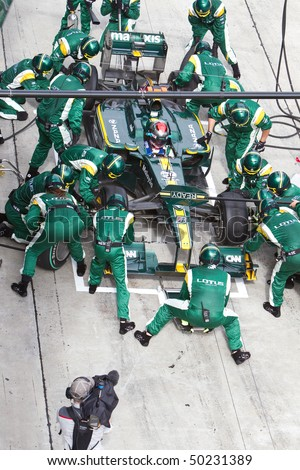 SEPANG, MALAYSIA - APRIL 4: Italian Jarno Trulli of Team Lotus pitting for tires at the Petronas Formula 1 Grand Prix April 4, 2010 in Sepang, Malaysia