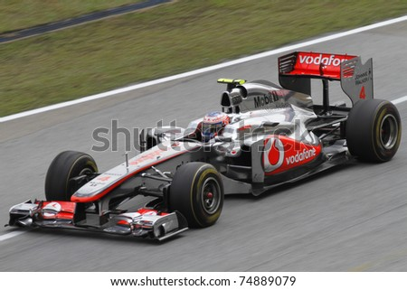 SEPANG, MALAYSIA - APRIL 8: Jenson Button of Vodafone McLaren Mercedes in action at PETRONAS Malaysian Grand Prix on April 8, 2011 in Sepang, Malaysia. The race will be held on Sunday April 10, 2011.