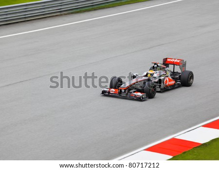 SEPANG, MALAYSIA - APRIL 8: Lewis Hamilton (team McLaren Mercedes) at first practice on Formula 1 GP, April 8 2011, Sepang, Malaysia