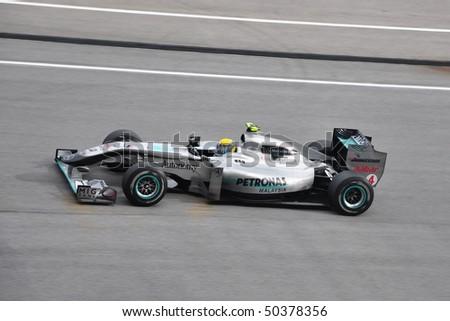 SEPANG, MALAYSIA - APRIL 4 : Nico Rosberg of Mercedes GP Team speeding during Petronas Malaysian F1 Grand Prix at Sepang F1 Circuit April 4, 2010 in Sepang, Malaysia