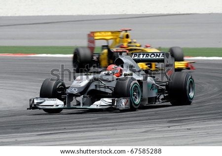 Stock Photo Sepang Malaysia April Petronas Mercedes Racing Team Driver Michael Schumacher Action On on Cadillac V8 Mid Engine 911