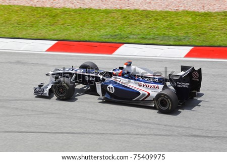 SEPANG, MALAYSIA - APRIL 8: Rubens Barrichello (team AT&T Williams) races at first practice on Formula 1 GP, April 8 2011, Sepang, Malaysia