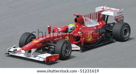 SEPANG, MALAYSIA - APRIL 2 : Scuderia Ferrari Marlboro driver Fernando Alonso of Spain drives during the first practice session at the Sepang F1 circuit April 2, 2010 in Sepang, Malaysia.