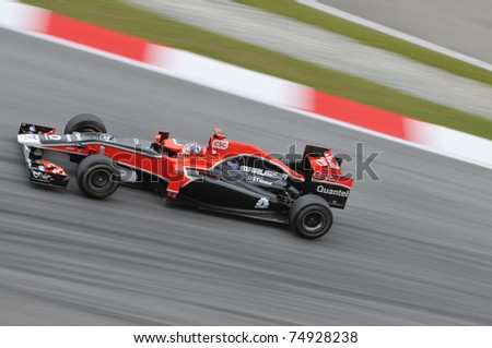 SEPANG, MALAYSIA - APRIL 8: Timo Glock of Virgin Racing during practice session at PETRONAS Malaysian GP on April 8, 2011 in Sepang, Malaysia. The race will be held on April 10