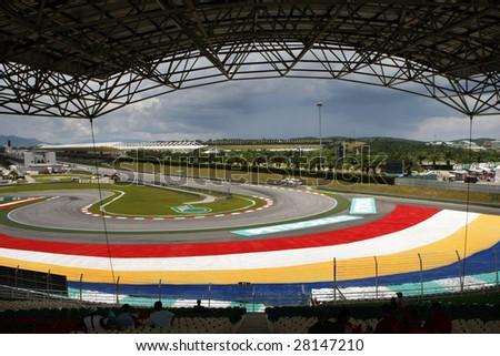 Sepang, MALAYSIA - 4 April: View of the tracks and grandstand of the Sepang International Circuit during the  2009 F1 Petronas Malaysian Grand Prix.  4 April 2009 in Sepang, Malaysia.