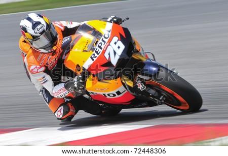SEPANG, MALAYSIA-FEB 24: Dani Pedrosa of Repsol Honda Team at MotoGP Official Test Sepang 2 on Feb 24, 2011 in Sepang, Malaysia.