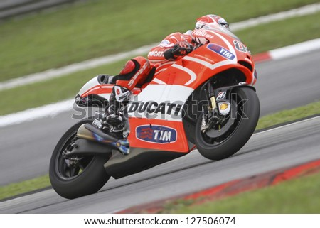 SEPANG MALAYSIA-FEB 7 Italy No 4 Andrea Dovizioso of Ducati Team at MotoGP Official Test Sepang 1 on Feb 7 2013 in Sepang Malaysia Season 2013 will start in Qatar on April 7