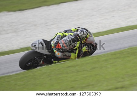 SEPANG MALAYSIA-FEB 7 Italy No 46 Valentino Rossi of Yamaha Factory Racing at MotoGP Official Test Sepang 1 on Feb 7 2013 in Sepang Malaysia Season 2013 will start in Qatar on April 7