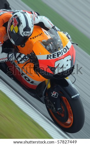SEPANG, MALAYSIA - FEB. 26: Repsol Honda rider Dani Pedrosa of Spain during the 2010 pre-season test at Sepang circuit February 26, 2010 in Sepang, Malaysia.