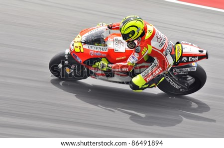 SEPANG, MALAYSIA - FEBRUARY 3: Valentino Rossi from Ducati Team during MotoGP Pre-Season Test Day 3 on February 3, 2011 at Sepang International Circuit, Malaysia