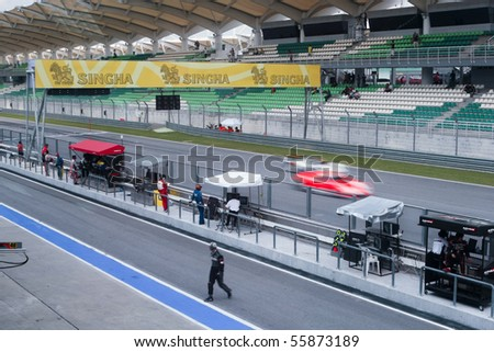 SEPANG, MALAYSIA - JUNE 21: A view of the track and pit lane during the Super GT International Series Round 4 race. June 21, 2010 in Sepang Malaysia