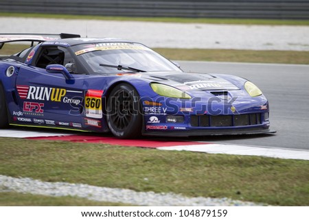 SEPANG, MALAYSIA - JUNE 10: Team Tomei Sports in their Callaway Corvette in turn 3 at Super GT Race June 10, 2012 in Sepang, Malaysia