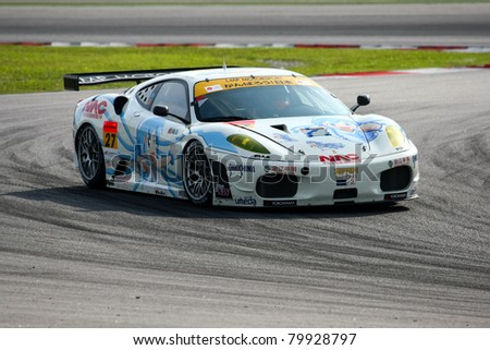 SEPANG, MALAYSIA - JUNE 18: The Ferrari F430 car of LMP Motorsport puts in some practice laps in the Sepang International Circuit at the Japan SUPER GT Round 3 on June 18, 2011 in Sepang, Malaysia.