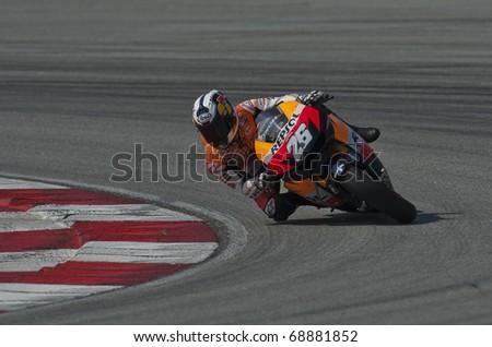 SEPANG, MALAYSIA - KUALA LUMPUR, MALAYSIA - FEBRUARY 4: Dani Pedrosa of Spain at the MotoGP pre-season testing on February 4, 2010 at the Sepang International Circuit near Kuala Lumpur, Malaysia.