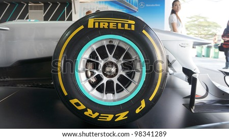 SEPANG, MALAYSIA-MARCH 23 : Close-up of Pirelli tyre on Petronas Mercedes GP F1 on display during the Malaysian F1 Grand Prix on March 23, 2012 in Sepang International Circuit in Sepang, Malaysia.