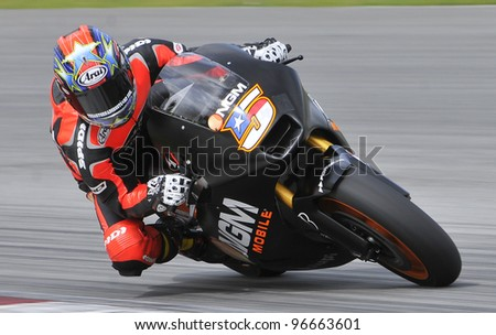 SEPANG,MALAYSIA-MARCH 1: Colin Edwards of NGM Mobile Forward Racing at 2012 MotoGP Official Winter Test Sepang 2 on Mar. 1, 2012 in Sepang, Malaysia.The 2012 MotoGP season starts on April 8 in Qatar.