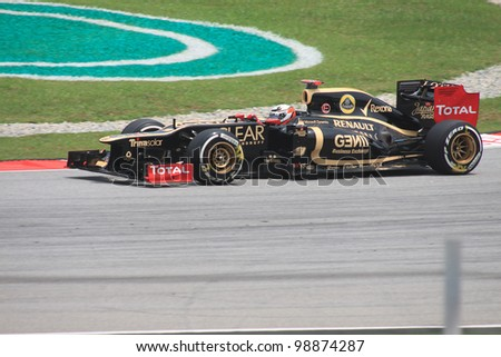 SEPANG, MALAYSIA - MARCH 23: Finnish Kimi Raikkonen of Lotus-Renault in action during Friday practice at Petronas Formula 1 Grand Prix on March 23, 2012 in Sepang, Malaysia