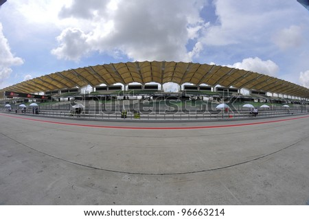 SEPANG,MALAYSIA-MARCH 1: Fisheye view of Sepang Track during 2012 MotoGP Official Winter Test Sepang 2 on Mar. 1, 2012 in Sepang, Malaysia.The 2012 MotoGP season starts on April 8 in Qatar.
