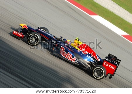 SEPANG, MALAYSIA-MARCH 24 : Mark Webber of Red Bull Racing Team in action during qualifying session on March 24, 2012 in Sepang International Circuit in Sepang, Malaysia.