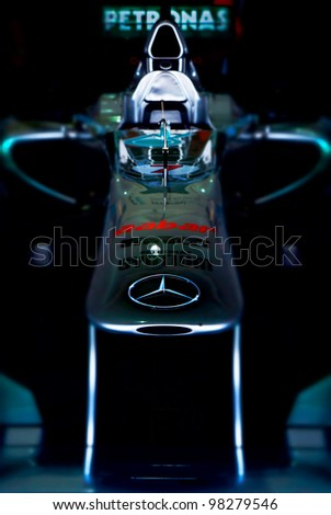 SEPANG, MALAYSIA-MARCH 23 : Petronas Mercedes GP F1 on display during the Malaysian F1 Grand Prix on March 23, 2012 in Sepang International Circuit in Sepang, Malaysia.