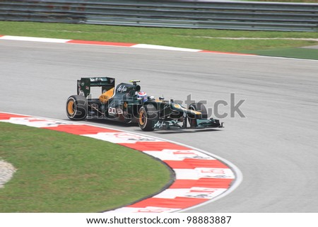 SEPANG, MALAYSIA - MARCH 23: Russian Vitaly Petrov of Caterham-Renault in action during Friday practice at Petronas Formula 1 Grand Prix on March 23, 2012 in Sepang, Malaysia