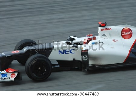 SEPANG, MALAYSIA-MARCH 24 : Sauber-Ferrari Team driver Kamui Kobayashi in action during qualifying session on March 24, 2012 in Sepang International Circuit in Sepang, Malaysia.