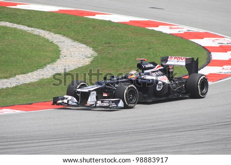 SEPANG, MALAYSIA - MARCH 23: Venezuelan Pastor Maldonado of Williams-Renault in action during Friday practice at Petronas Formula 1 Grand Prix on March 23, 2012 in Sepang, Malaysia