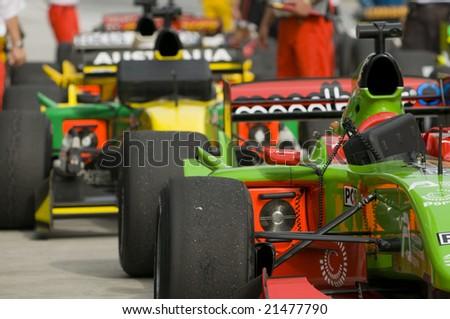 SEPANG, MALAYSIA - NOVEMBER 23 : Rows of A1 cars after race at A1GP world Cup of Motorsport in Sepang, Malaysia November 23, 2008.
