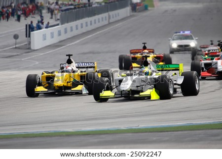 Sepang, MALAYSIA - 23 November: Start of the sprint race at the World A1 GP championship races held in Malaysia. 23 November 2008 in Sepang International Circuit Malaysia. - stock photo