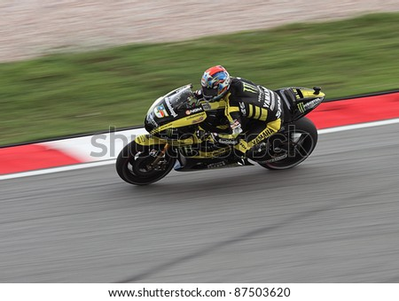 SEPANG,MALAYSIA-OCT.21:Colin Edwards of Monster Yamaha Tech 3 in action during practice session of Shell Advance Malaysian Moto GrandPrix on Oct. 21 2011 in Sepang, Malaysia.