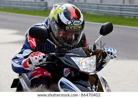 SEPANG, MALAYSIA - SEPTEMBER 3: 2011  Yamaha Factory Racing Team  Test Motorbike on September 3, 2011 at Sepang International Circuit, Malaysia - stock photo