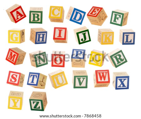 stock photo : Separated alphabet blocks of all the letters in various