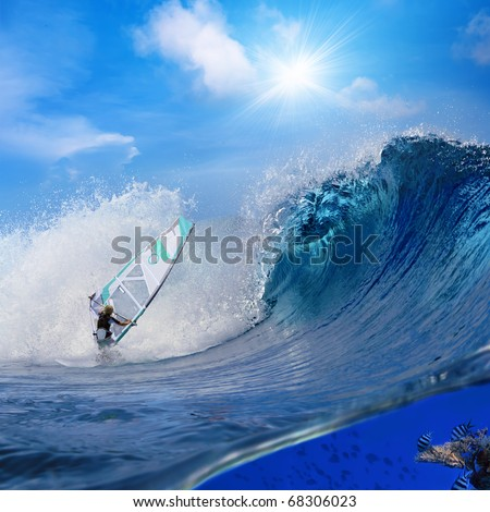 Separated image by waterline. Oceanview with breaking surfing wave and professional windsurfer on a board under sail and sealife with fish and tortoise swimming over coral reef