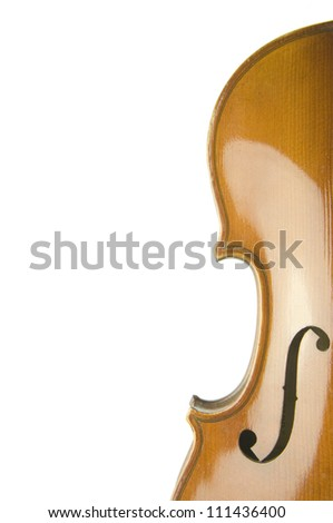 separated violin's body head and bow