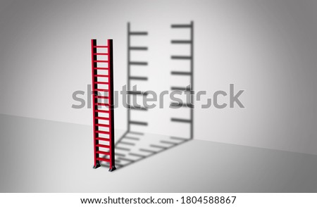 Separation and division concept as a ladder casting a shadow of a divided object as a divorce or business strategy idea as a 3D render. Stockfoto ©