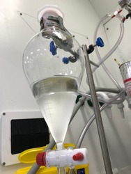 Separatory funnel in science laboratory