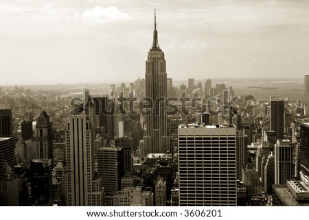 Sepia-colored view of midtown and downtown Manhattan from above