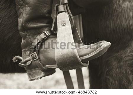 sepia cowboy boot