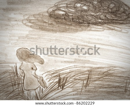 Sepia drawing on paper of one girl on meadow . loneliness