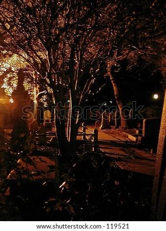 Sepia graveyard shot at night